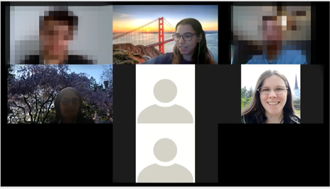d) Focus group with participants pixelated