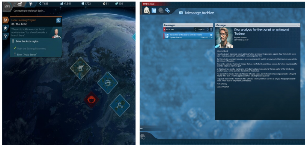 Figure 2 Messages from NPCs in Anno 2205 & Anno 2070
